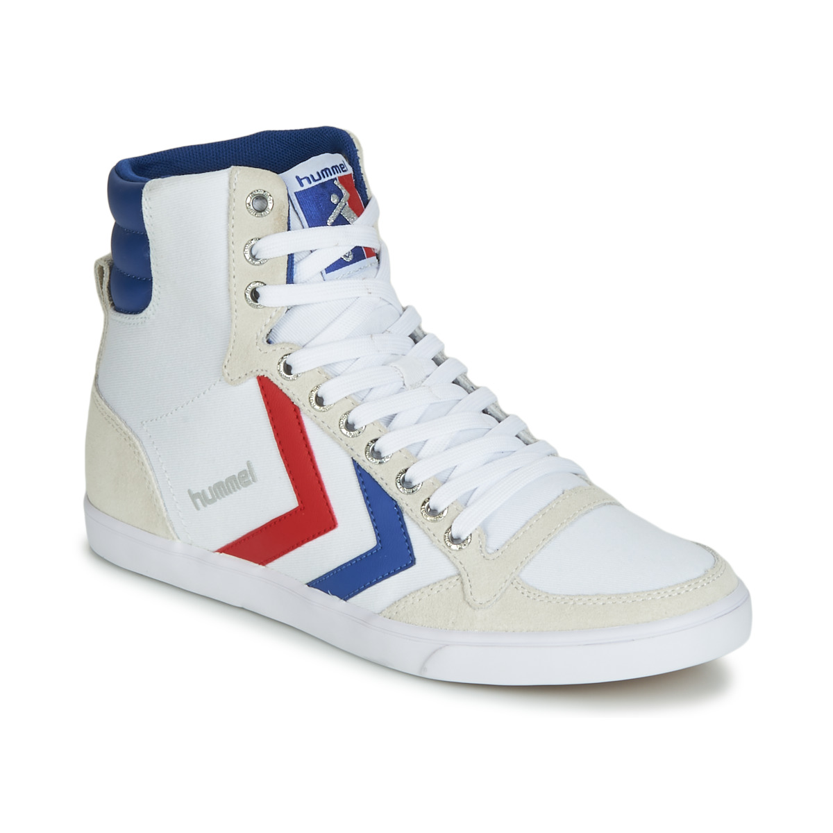 Hummel SLIMMER STADIL HIGH White / Blue / Ribbon Red