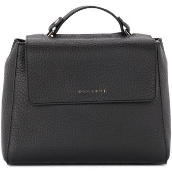 Bags Women Shoulder bags Orciani Sveva small black tumbled leather handbag Black