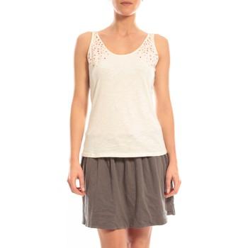 Clothing Women Tops / Sleeveless T-shirts Blune Débardeur Lendemain de fête LF-DF01E13 Écru Beige