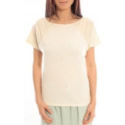 Clothing Women Short-sleeved t-shirts Blune T-Shirt Pointilleuse PO-TF02E13 Écru Beige