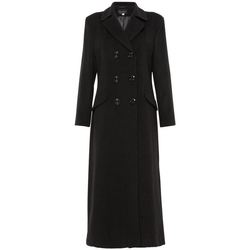 Clothing Women Parkas De La Creme Womens Double Breasted Fitted Long Coat black