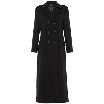 Clothing Women Parkas De La Creme Double Breasted Fitted Long Coat BLACK