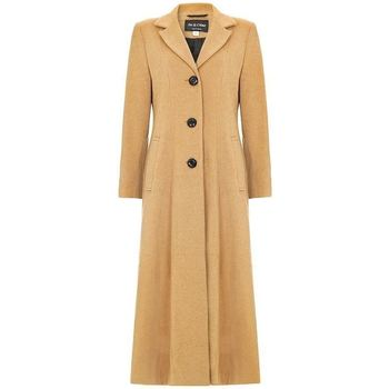 Clothing Women Parkas De La Creme Double Single Fitted Long Coat BEIGE