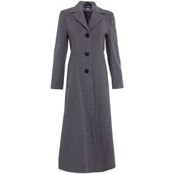 Clothing Women coats De La Creme Double Single Fitted Long Coat grey