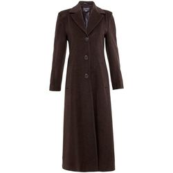 Clothing Women coats De La Creme Double Single Fitted Long Coat brown