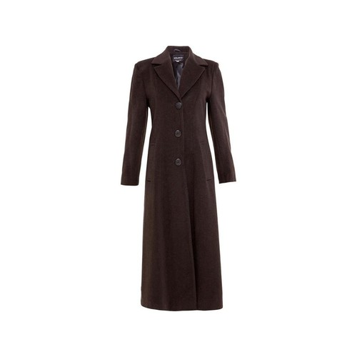 Clothing Women coats De La Creme Double Single Fitted Long Coat brown