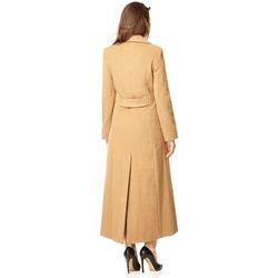 Clothing Women Trench coats De La Creme Double Breasted Fitted Long Coat BEIGE