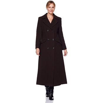 Clothing Women Parkas De La Creme Womens Double Breasted Fitted Long Coat brown