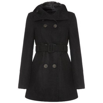 Clothing Women Parkas Jumpo - Black  Womens Wool Hooded Belted Breasted Coat Black