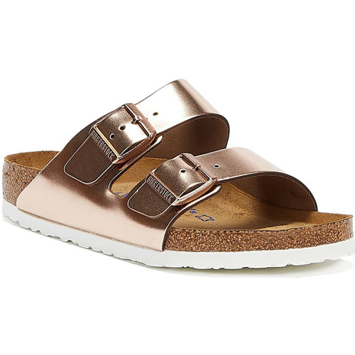 Shoes Women Mules Birkenstock Arizona Womens Metallic Copper Sandals Metallic