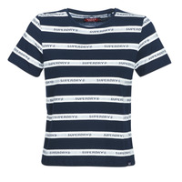 Clothing Women short-sleeved t-shirts Superdry COTE STRIPE TEXT TEE Marine