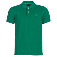 Clothing Men short-sleeved polo shirts Gant CONTRAST COLLAR PIQUE Green