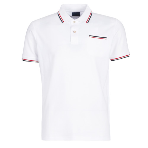 Clothing Men short-sleeved polo shirts Gant COL TIPPING PIQUE White