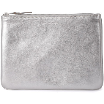 Bags Women Pouches / Clutches Comme Des Garcons silver leather pochette Silver