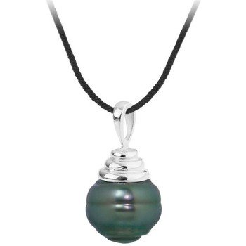 Watches Women Necklaces Blue Pearls Black Cotton Necklace, 10mm Rimmed Tahitian Pearl Pendant and Si Multicolored