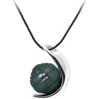 Watches Women Necklaces Blue Pearls Black Cotton Necklace, 9mm Rimmed Tahitian Pearl Pendant and Sil Multicolored