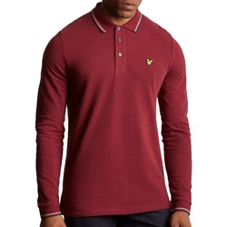 Clothing Men long-sleeved polo shirts Lyle & Scott Long Sleeve Tipped Polo Shirt Burgundy