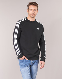 Clothing Men Sweaters adidas Originals 3 STRIPES CREW Black