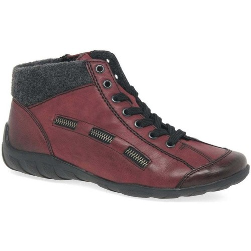 Shoes Women Mid boots Rieker Jinnie Womens Casual Zip Lace Up Ankle Boots red