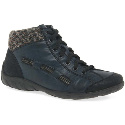 Shoes Women Mid boots Rieker Jinnie Womens Casual Zip Lace Up Ankle Boots blue