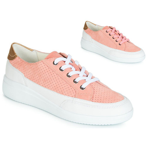 Shoes Women Low top trainers Geox D TAHINA Pink / White