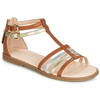 Shoes Girl Sandals Geox J SANDAL KARLY GIRL Camel / Gold