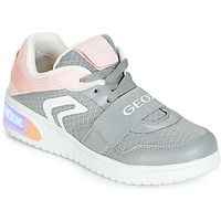 Shoes Girl Hi top trainers Geox J XLED GIRL Grey / Pink / Led