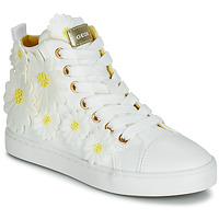 Shoes Girl Hi top trainers Geox JR CIAK GIRL White / Flowers / Yellow
