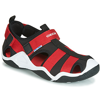 Shoes Boy Outdoor sandals Geox JR WADER Black / Red