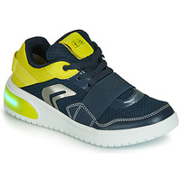 Shoes Boy Low top trainers Geox J XLED BOY Blue / Yellow / Led