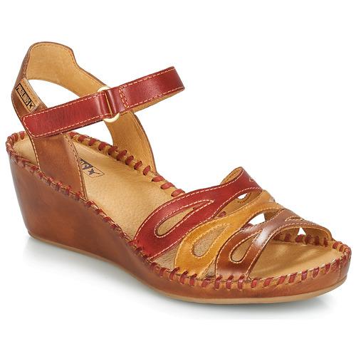 Shoes Women Sandals Pikolinos MARGARITA 943 Red / Brown