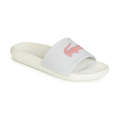 Shoes Women Sliders Lacoste CROCO SLIDE 119 3 White / Pink