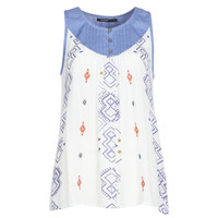 Clothing Women Tops / Sleeveless T-shirts Desigual MEKANE White / Blue