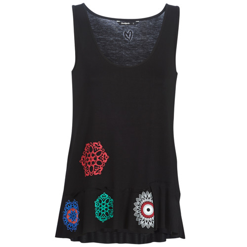 Clothing Women Tops / Sleeveless T-shirts Desigual MELISA Black