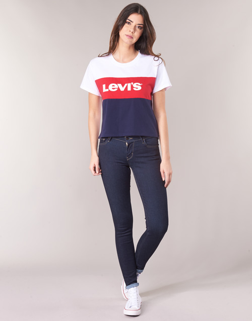 Clothing Women Skinny jeans Levi's INNOVATION SUPER SKINNY Blue / black / Rinse