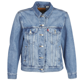 Clothing Women Denim jackets Levi's EX-BOYFRIEND TRUCKER Blue / Medium