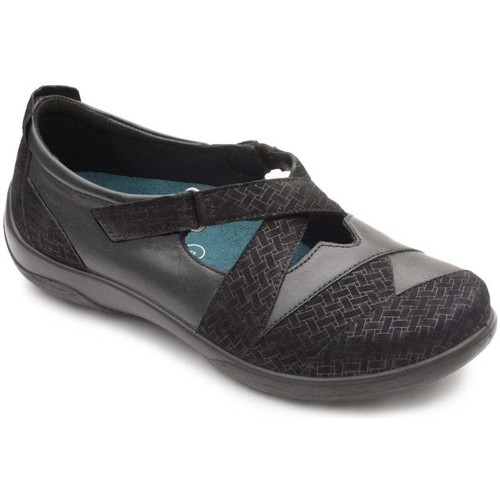 Shoes Women Derby Shoes & Brogues Padders Basset Womens Cross Over Strap Shoe black
