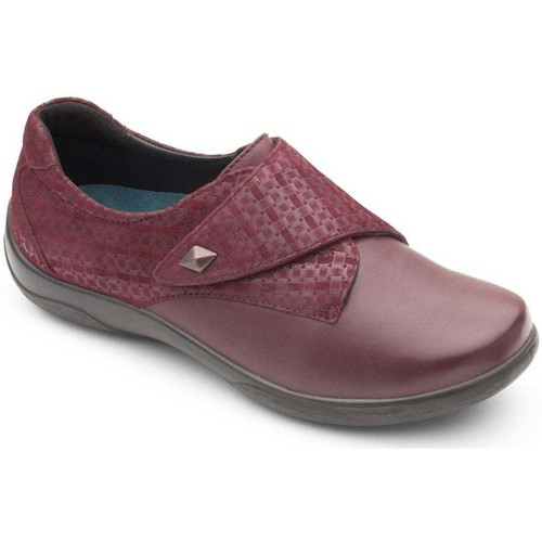 Shoes Women Derby Shoes Padders Viola Womens Leather Textured Panel Rip Tape Shoes pink