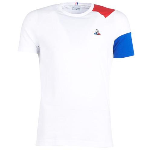 Clothing Men short-sleeved t-shirts Le Coq Sportif ESS Tee SS N°10 M White / Red / Blue