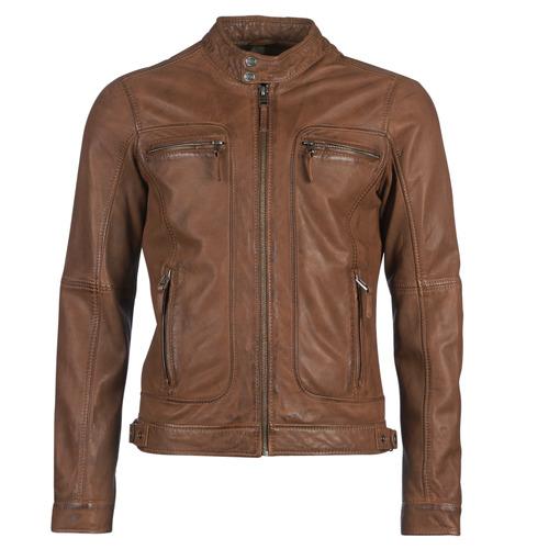 Clothing Men Leather jackets / Imitation leather Oakwood CASEY Cognac