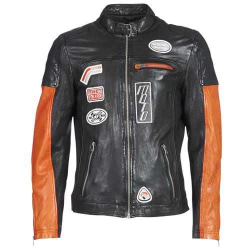 Clothing Men Leather jackets / Imitation leather Oakwood INDIE Black / Orange