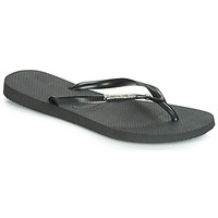 Shoes Women Flip flops Havaianas SLIM METALLOGO AND CRYSTAL  black
