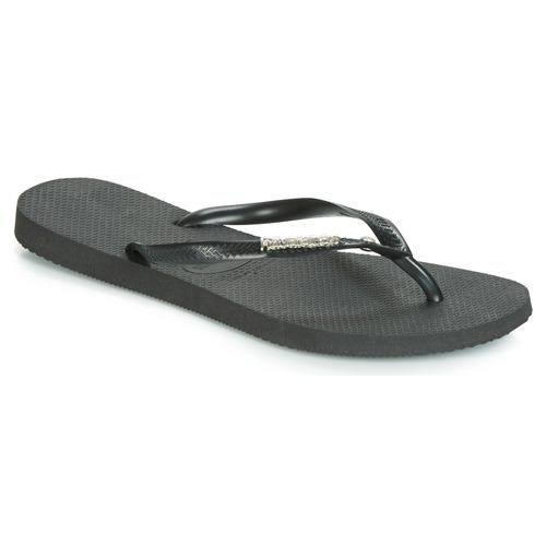 Shoes Women Flip flops Havaianas SLIM METALLOGO AND CRYSTAL  black