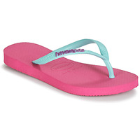Shoes Girl Flip flops Havaianas HAVAIANAS SLIM LOGO Pink / Blue