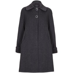 Clothing Women coats De La Creme - Grey Womens Swing Wool Cashmere Winter Coat Grey