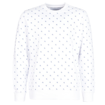 Clothing Men sweaters Calvin Klein Jeans MONOGRAM AOP CREW White / Blue