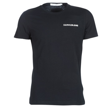 Clothing Men short-sleeved t-shirts Calvin Klein Jeans CHEST INSTITUTIONAL SLIM SS TEE Black