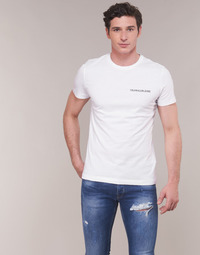 Clothing Men Short-sleeved t-shirts Calvin Klein Jeans CHEST INSTITUTIONAL SLIM SS TEE White