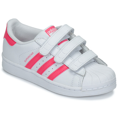 Shoes Girl Low top trainers adidas Originals SUPERSTAR FOUNDATIO White / Pink