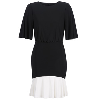 Clothing Women Short Dresses Lauren Ralph Lauren ELBOW SLEEVE DAY DRESS Black / White